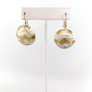 Large Fine Silver and 24K Gold Earrings
