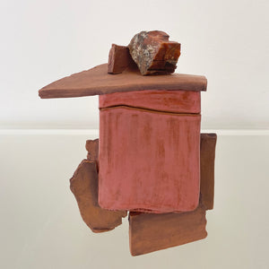 Square Rust Sculpture with Red Stone