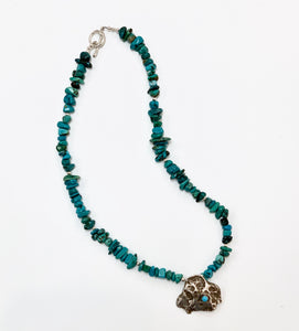 Turquoise Necklace with Free Form Pendant