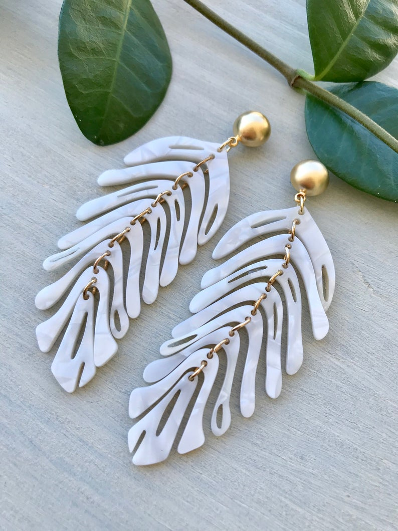 Arctic White Feather Earrings