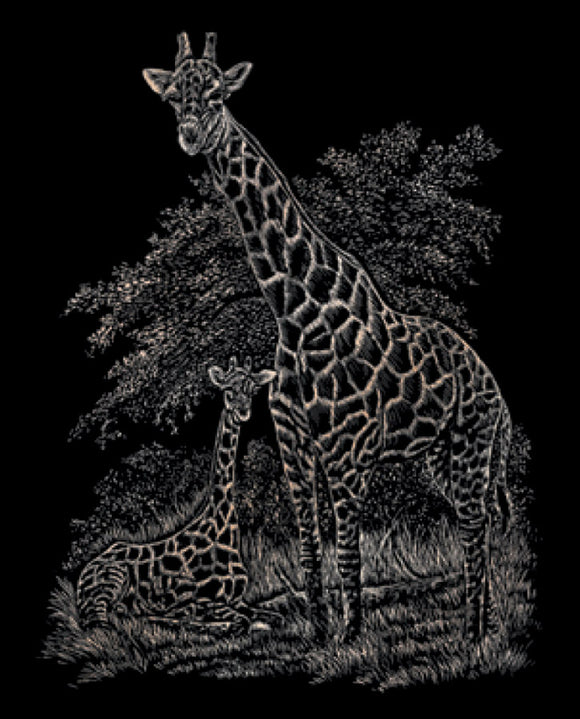 Engraving Art- Giraffe and Baby