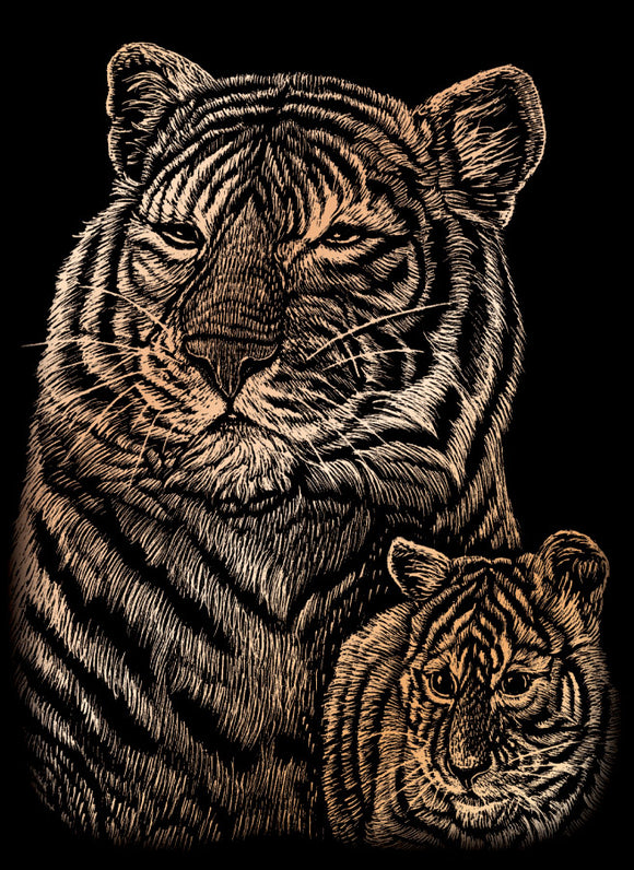 Engraving Art Mini- Tiger and Cub