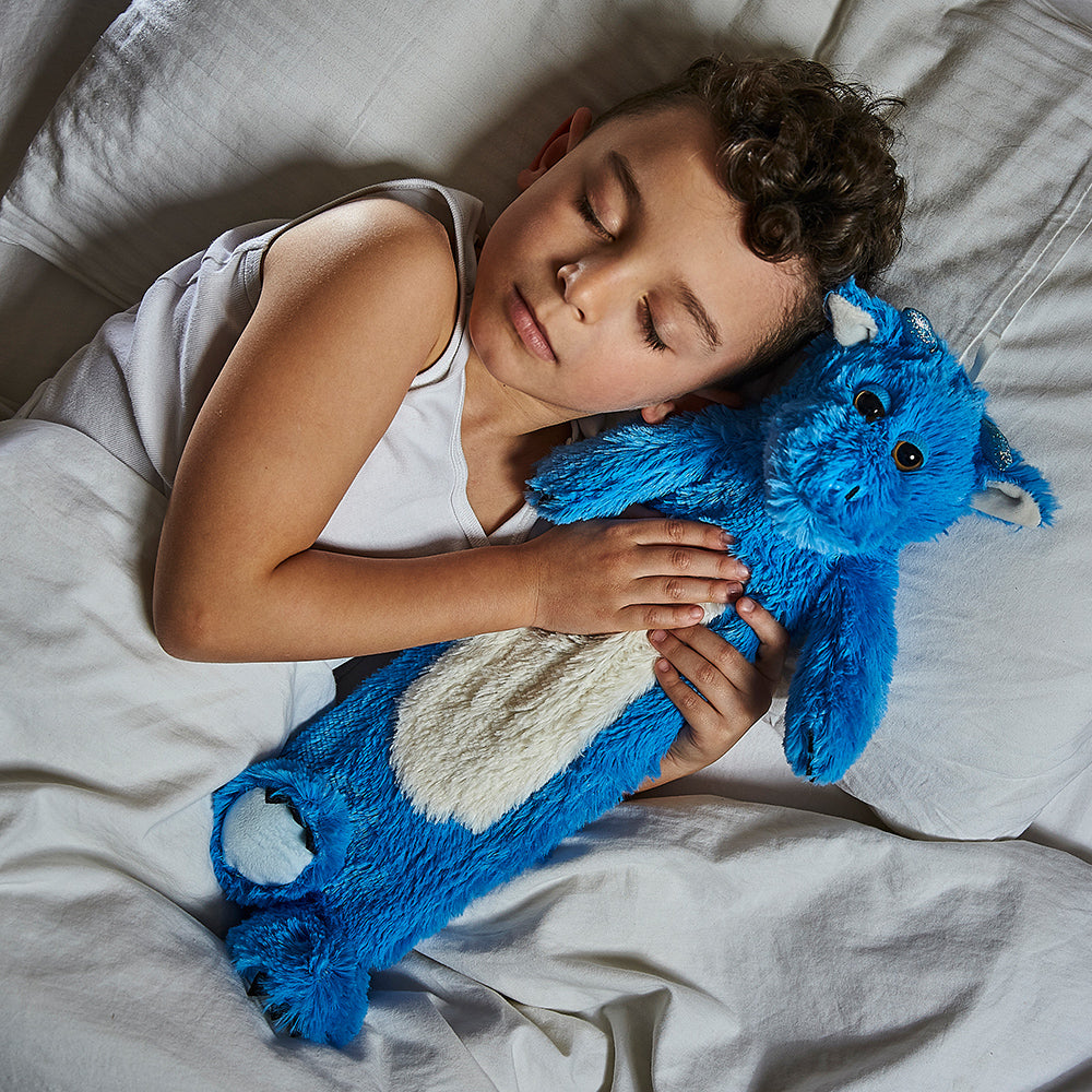 Warmies® 3D Hot Water Bottle Blue Dragon, Simply add Hot Water