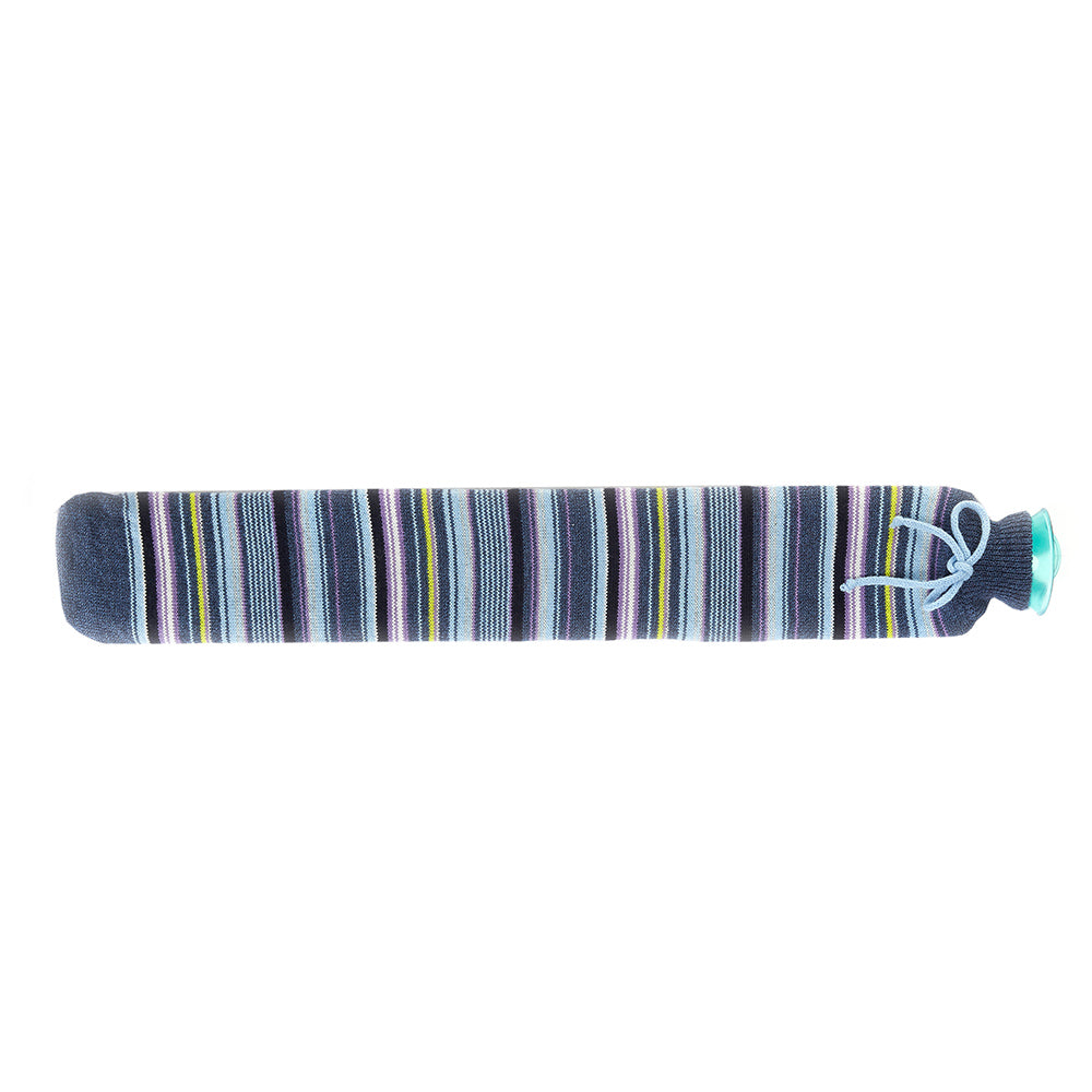 Warmies® Extra Long Hot Water Bottle Blue Stripe, Super Soft, Luxury Cover, Providing All Over Warmth
