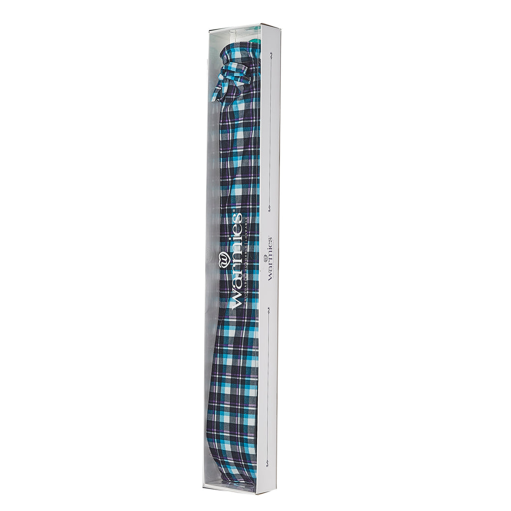 Warmies® Extra Long Hot Water Bottle Blue Tartan, Super Soft, Luxury Cover, Providing All Over Warmth
