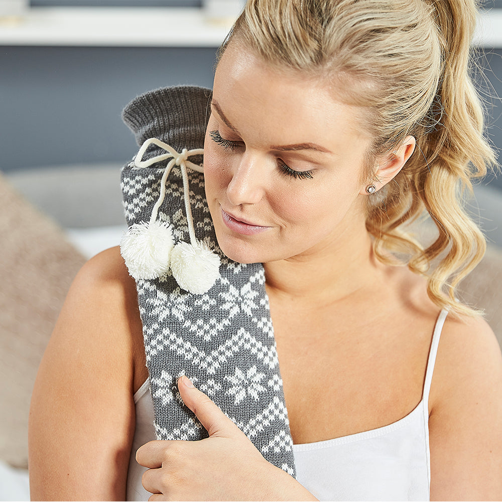 Warmies® Extra Long Hot Water Bottle Grey Nordic, Super Soft, Luxury Cover, Providing All Over Warmth