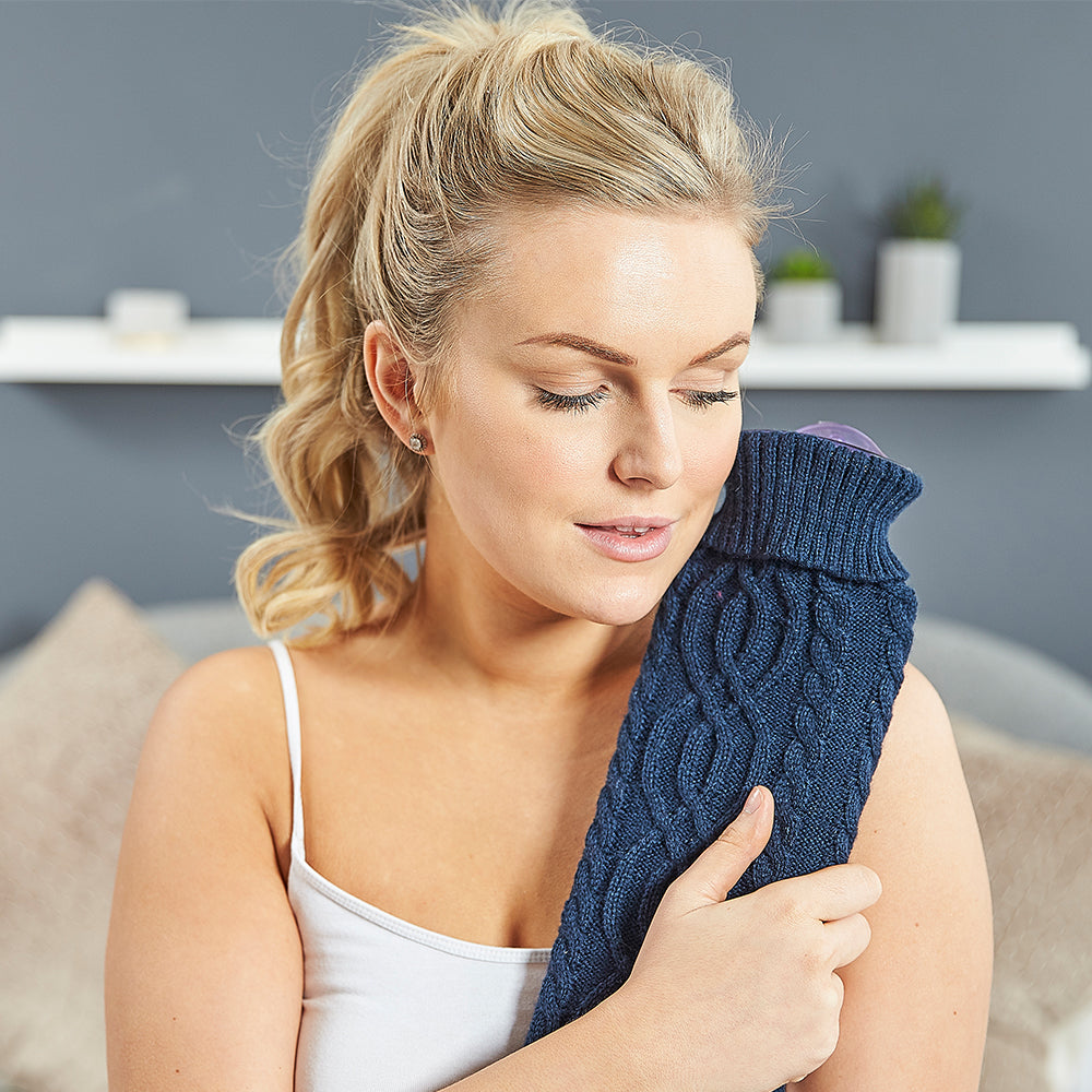 Warmies® Extra Long Hot Water Bottle Navy Knit, Super Soft, Luxury Cover, Providing All Over Warmth