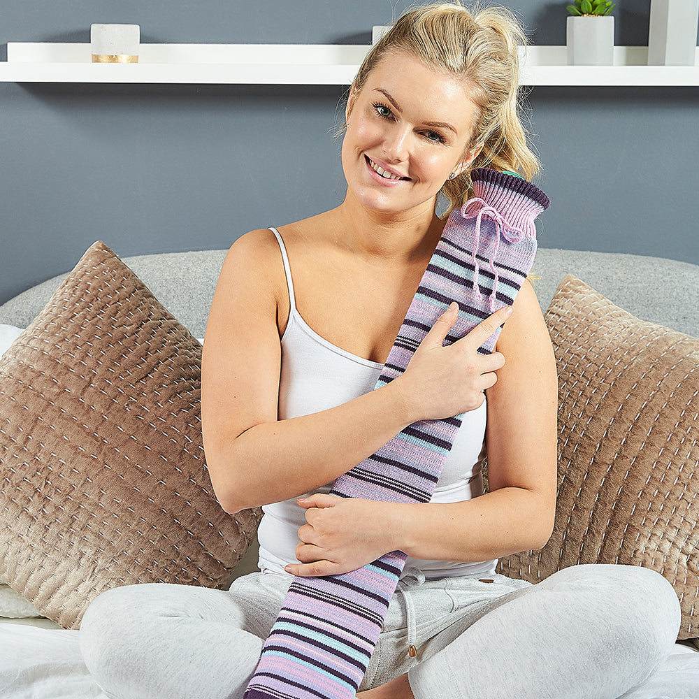 Warmies® Extra Long Hot Water Bottle Purple Stripe, Super Soft, Luxury Cover, Providing All Over Warmth