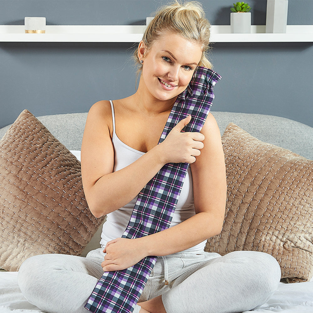 Warmies® Extra Long Hot Water Bottle Purple Tartan, Super Soft, Luxury Cover, Providing All Over Warmth