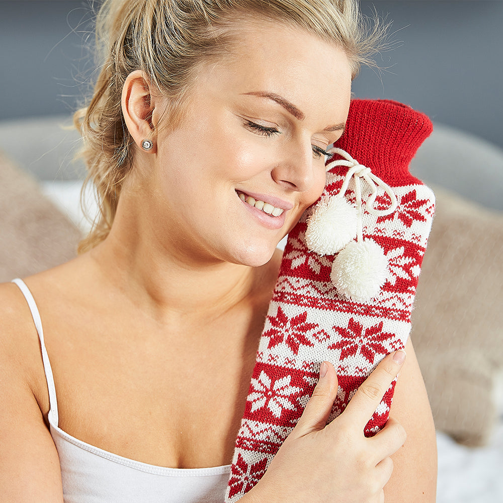 Warmies® Extra Long Hot Water Bottle Red Nordic, Super Soft, Luxury Cover, Providing All Over Warmth