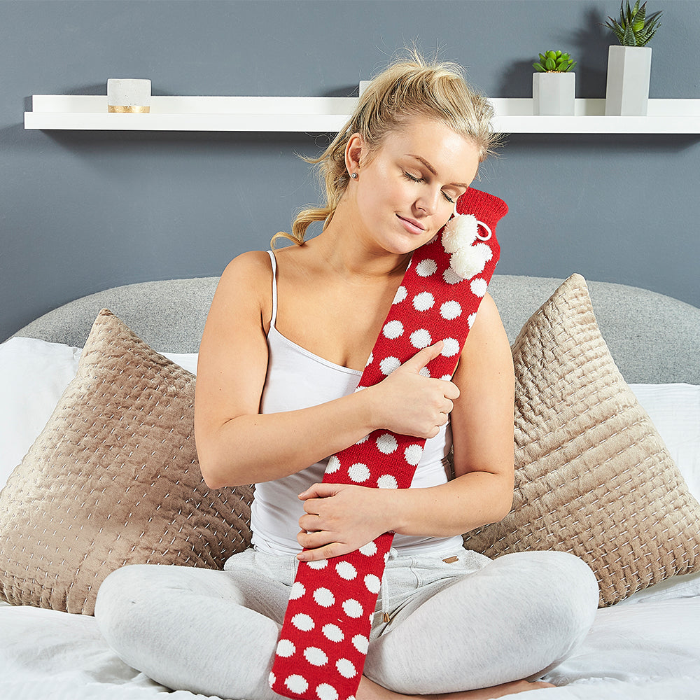 Warmies® Extra Long Hot Water Bottle Red Spot, Super Soft, Luxury Cover, Providing All Over Warmth