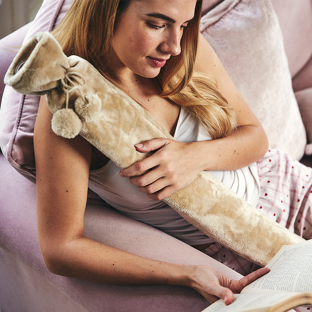 Warmies® Extra Long Hot Water Bottle Taupe Fleece, Super Soft, Luxury Cover, Providing All Over Warmth