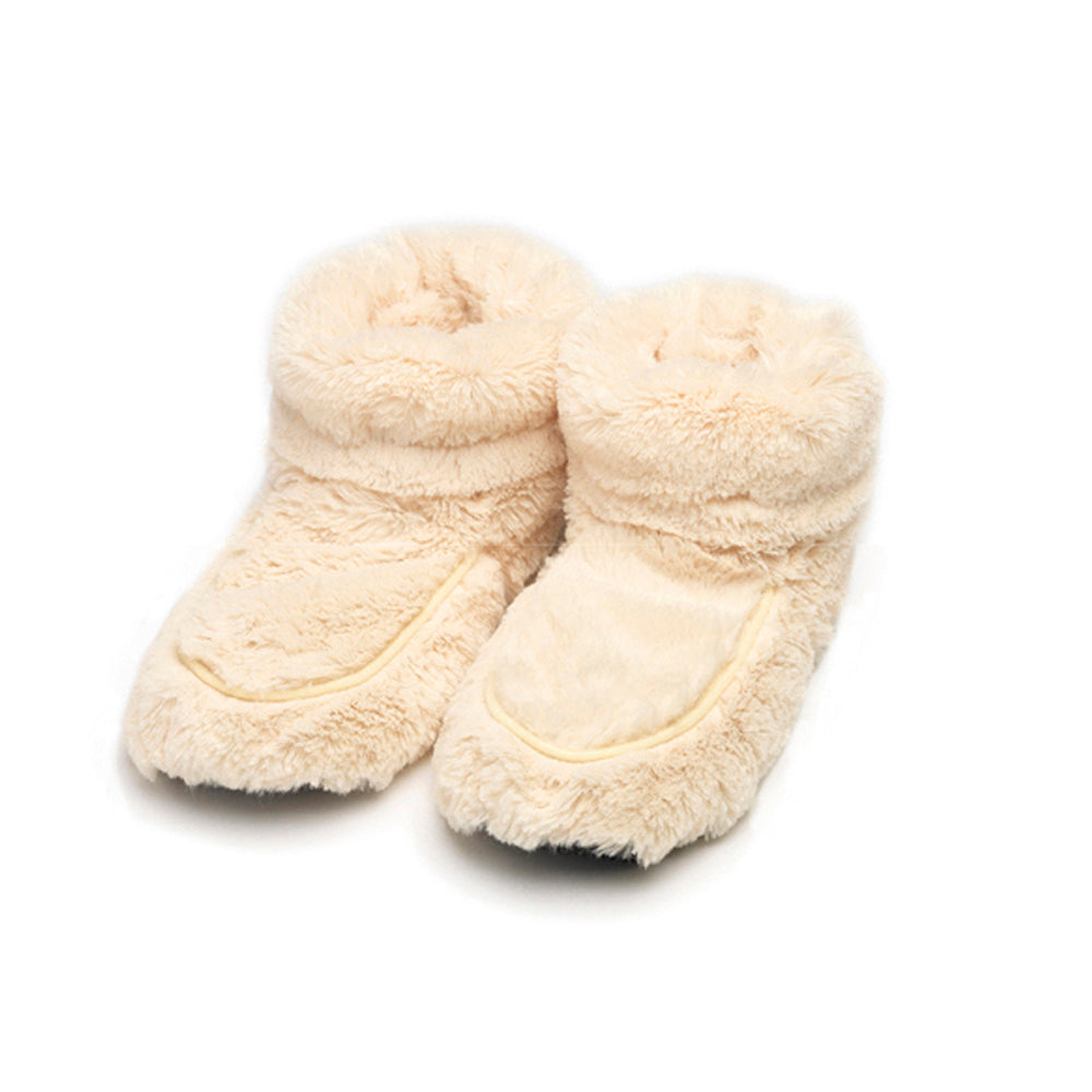 Warmies® Fully Microwaveable Plush Boots Cream, Heatable Soft Cuddly Boots With Relaxing Lavender Scent