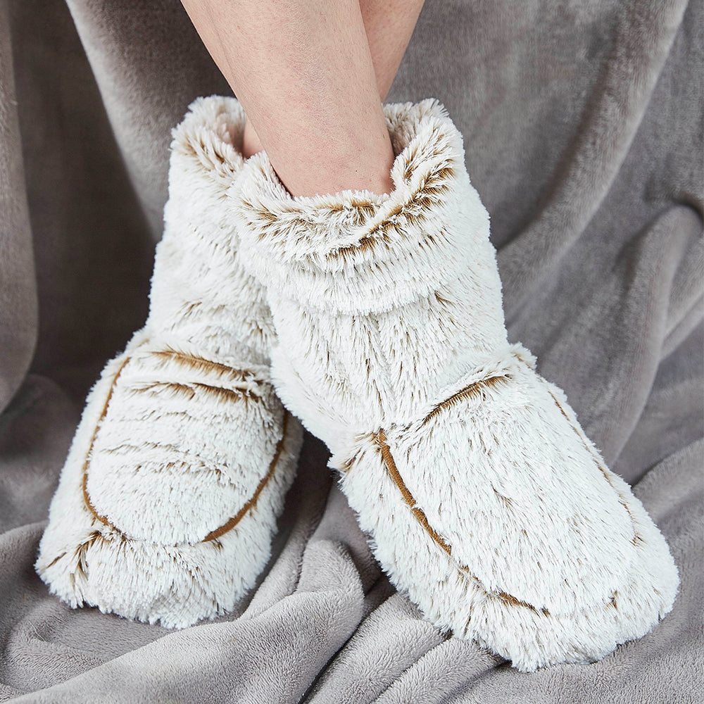 Warmies® Fully Microwaveable Plush Boots Marshmallow Beige, Heatable Soft Cuddly Boots With Relaxing Lavender Scent