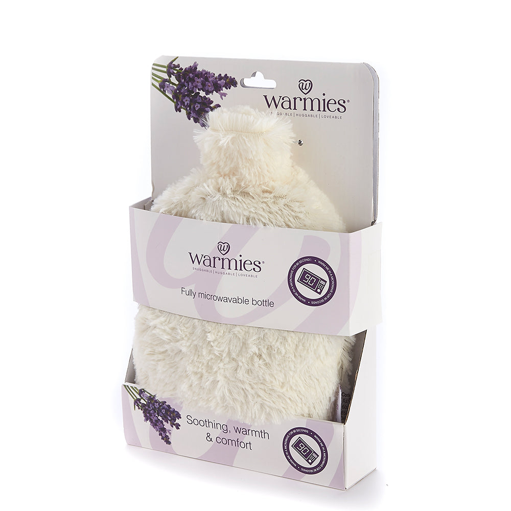 Warmies® Fully Microwaveable Plush Bottle Cream, Heatable Soft Cuddly Bottle With Relaxing Lavender Scent