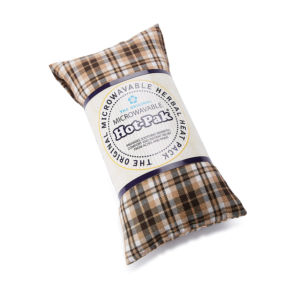 Warmies® Fully Microwaveable Hot-Pak® Tartan Beige, Heatable Soft Neck Wrap With Relaxing Lavender Scent