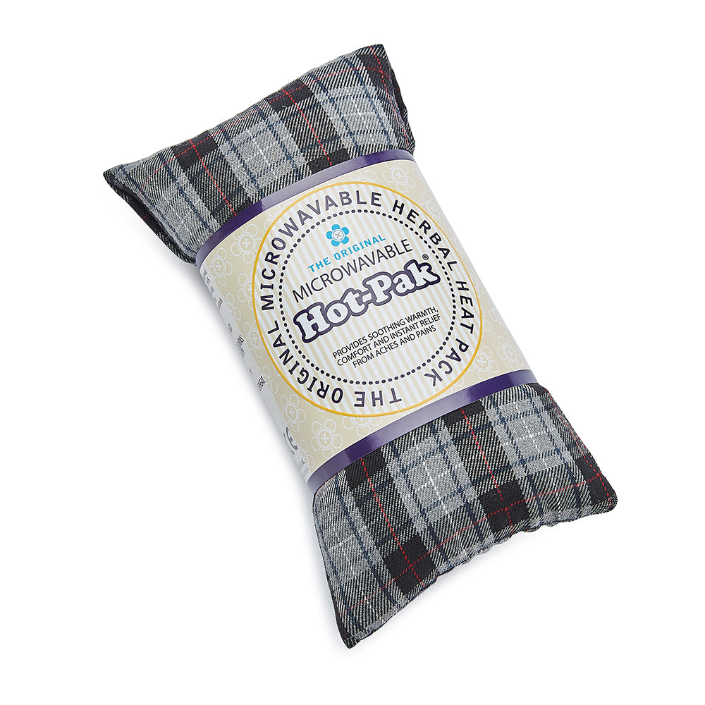 Warmies® Fully Microwaveable Hot-Pak® Tartan Black, Heatable Soft Neck Wrap With Relaxing Lavender Scent