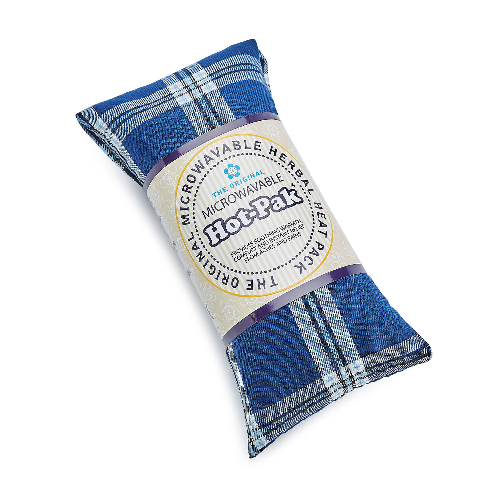 Warmies® Fully Microwaveable Hot-Pak® Tartan Blue, Heatable Soft Neck Wrap With Relaxing Lavender Scent