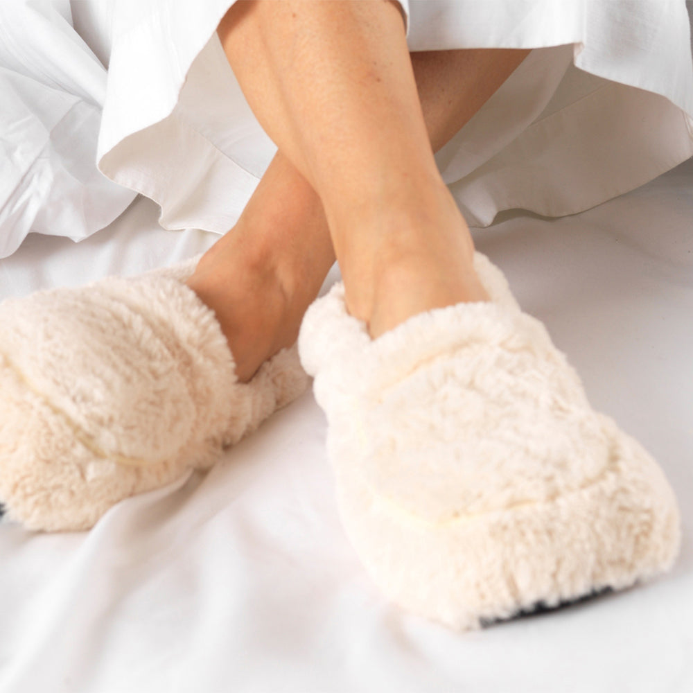 Warmies® Fully Microwaveable Plush Slippers Cream, Heatable Soft Cuddly Slippers With Relaxing Lavender Scent