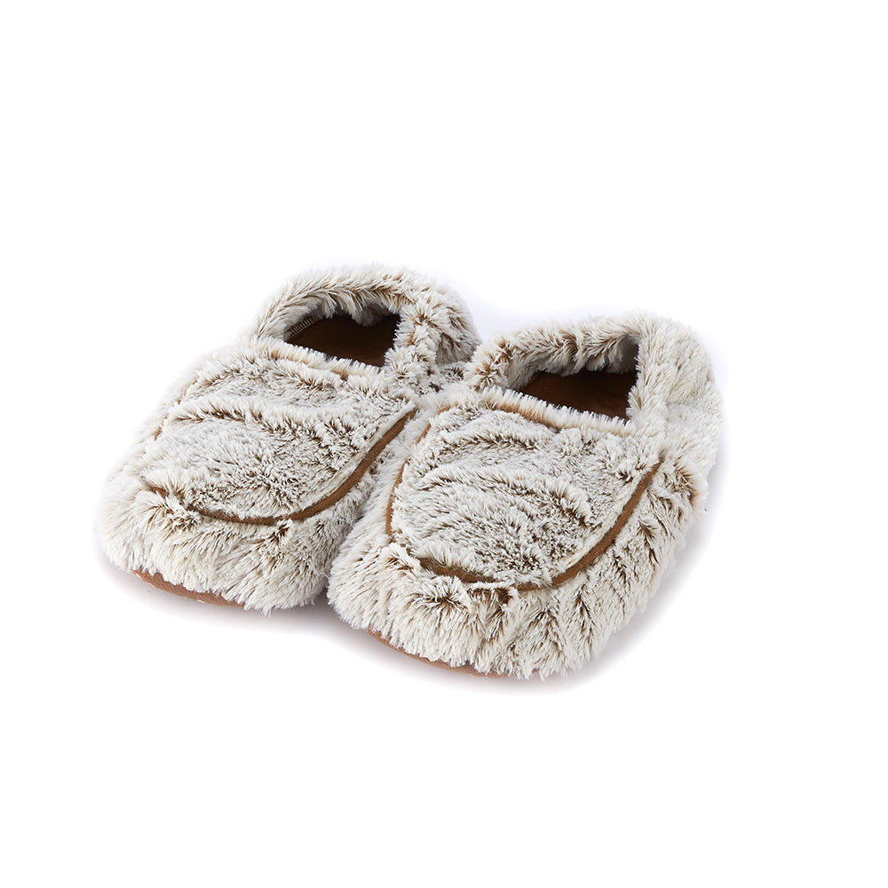 Warmies® Fully Microwaveable Plush Slippers Marshmallow Beige, Heatable Soft Cuddly Slippers With Relaxing Lavender Scent