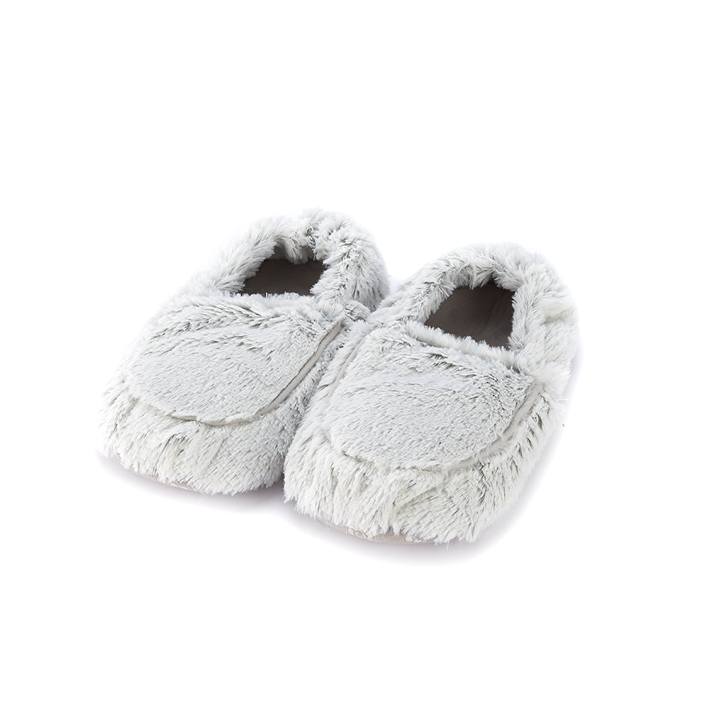 Warmies® Fully Microwaveable Plush Slippers Marshmallow Grey, Heatable Soft Cuddly Slippers With Relaxing Lavender Scent