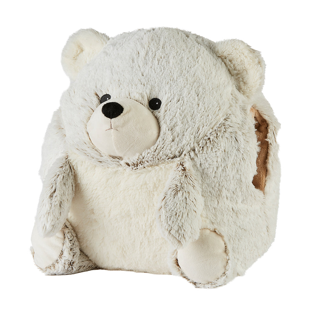 Warmies® Fully Microwaveable Supersized Marshmallow Bear Handwarmer with removable heat pack, Relaxing Lavender Scented Heatable Soft Cuddly Supersized Marshmallow Bear