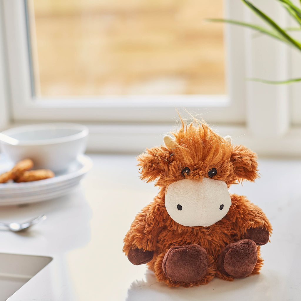 Warmies® Fully Microwaveable Junior Plush Toy Highland Cow, Heatable Soft Cuddly Teddy With Relaxing Lavender Scent