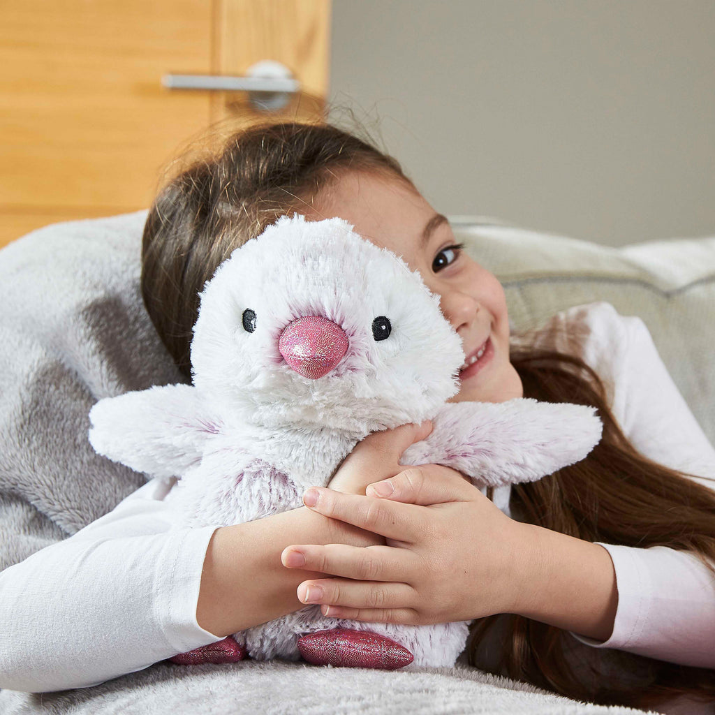 Warmies® Fully Microwaveable Plush Toy Marshmallow Penguin, Heatable Soft Cuddly Teddy With Relaxing Lavender Scent