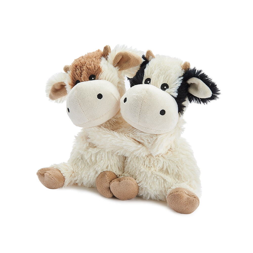 Warmies® Fully Microwaveable Warm Hugs Cows, Heatable Soft Cuddly Teddy With Relaxing Lavender Scent