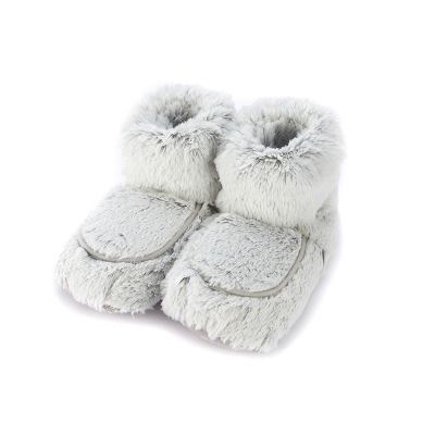 Warmies® Fully Microwaveable Plush Boots Marshmallow Grey, Heatable Soft Cuddly Boots With Relaxing Lavender Scent