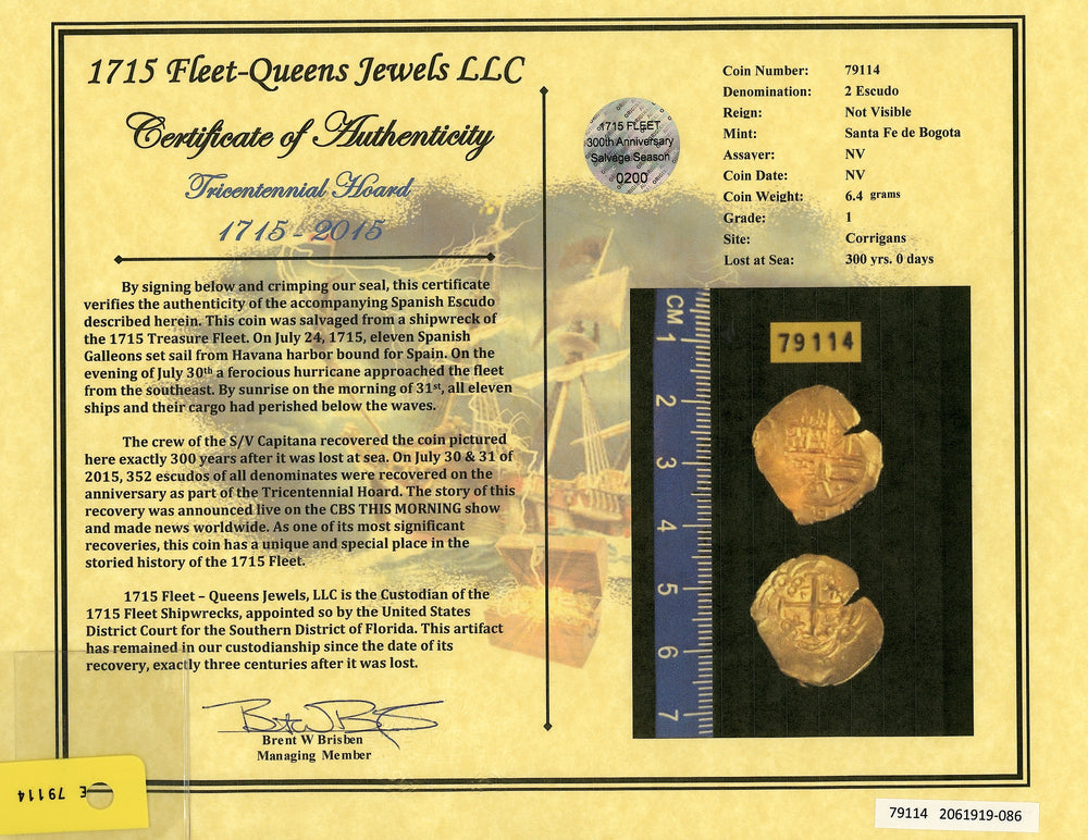 1715 Fleet Shipwreck, Columbia 2E, NGC MS 62