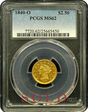 Load image into Gallery viewer, 1840-O $2.5 Liberty PCGS MS62