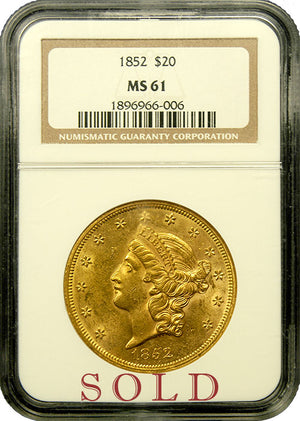 Load image into Gallery viewer, 1852-P $20 Liberty NGC MS61