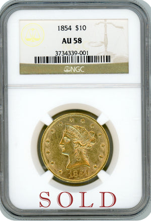 Load image into Gallery viewer, 1854-P $10 NGC AU 58