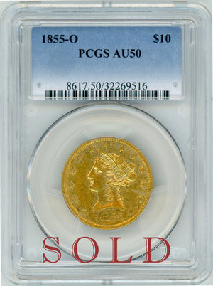 Load image into Gallery viewer, 1855 O $10 PCGS AU 50