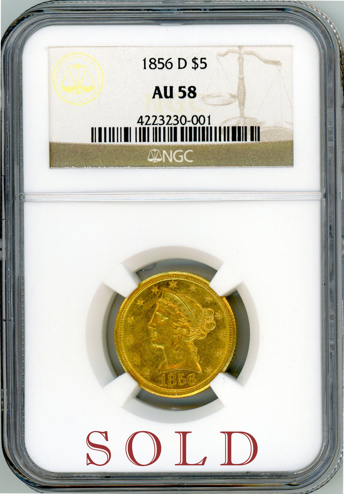 Load image into Gallery viewer, 1856 D $5 NGC AU 58