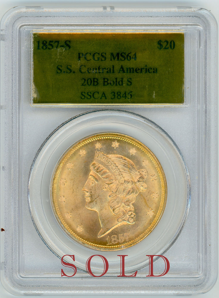 1857 S $20 Lib PCGS MS 64 SS Central America