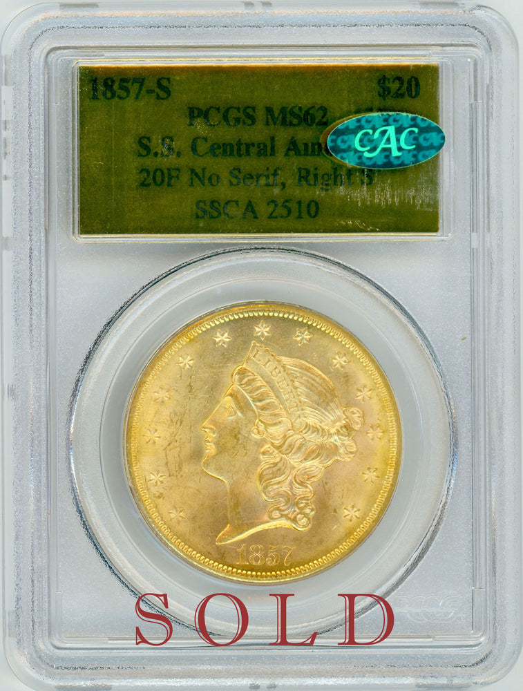 1857 S $20 PCGS MS 62 SS Central America CAC