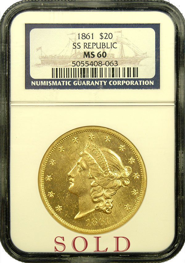 1861-P $20 Lib MS60 NGC SS Republic shipwreck gold