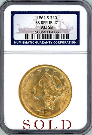 Load image into Gallery viewer, 1862 S $20 SS Republic NGC AU 58