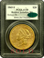 1865-S $20 PCGS AU58 CAC Brother Jonathan