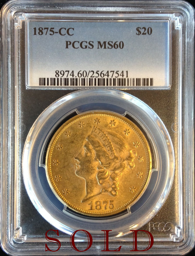 Load image into Gallery viewer, 1875 CC $20 PCGS MS 60