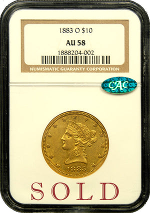 Load image into Gallery viewer, 1883 O $10 NGC AU 58 CAC