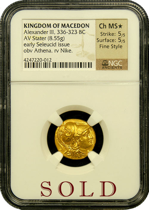 "Alexander the Great Gold Stater NGC CHMS* 5x5 ""Fine Style"""
