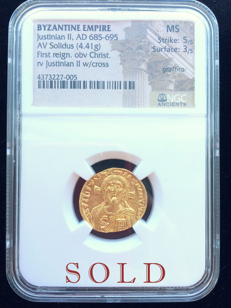 Byzantine Empire Justinian II Gold Solidus 5x3 MS NGC