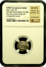 Lydia, King Croesus Silver Half-Stater NGC ChVF star