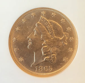 1865-S $20 Liberty Double Eagle NGC MS63 SS Republic Gold