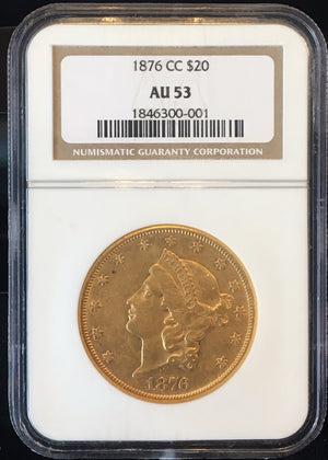Load image into Gallery viewer, 1876-CC $20 NGC AU53 Carson City Gold