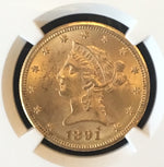 1891-CC $10 Liberty Eagle NGC MS63 Choice Carson City Gold