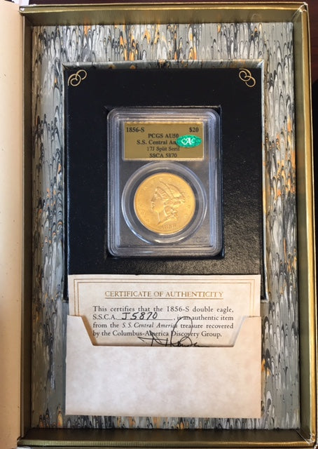 1856-S $20 Lib PCGS AU50 CAC SS Central America w Original Packaging
